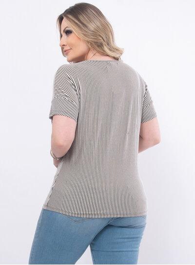 Blusa Plus Size Listrada com Brilho
