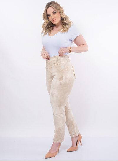 Calça Plus Size Jeans Marmorizado