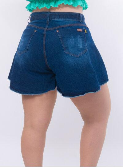 Short Plus Size Jeans Godê com Cinto