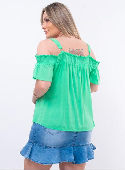Blusa Plus Size Ciganinha Lisa