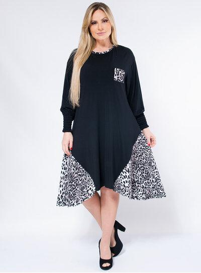 Vestido Plus Size Evasê Animal Print