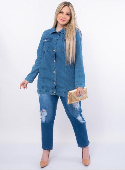 Maxi Jaqueta Jeans Plus Size