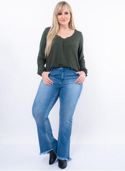Blusa Plus Size Elástico no Punho