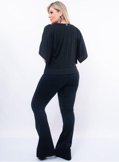 Blusa Plus Size Canelada com Laço na Barra
