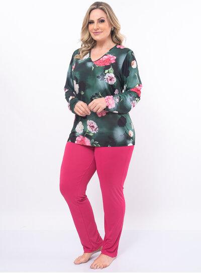 Pijama Plus Size Blusa Estampada