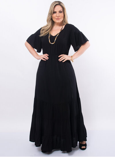 Vestido Plus Size Longo Recortes na Barra
