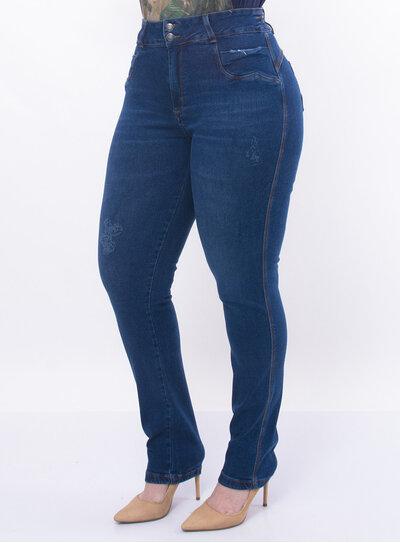 Calça Plus Size Jeans com Elástico no Cós