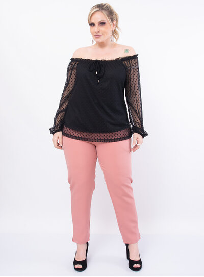 Blusa Plus Size Ombro a Ombro com Laço