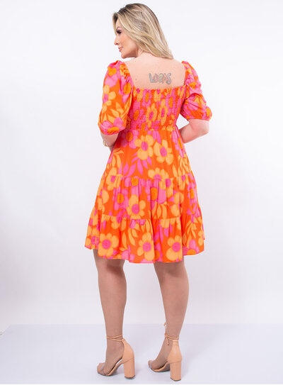 Vestido Plus Size Lastex Floral