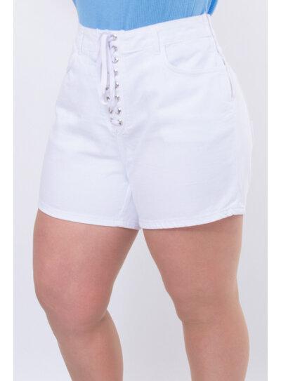 Short Jeans Plus Size Branco Ilhós