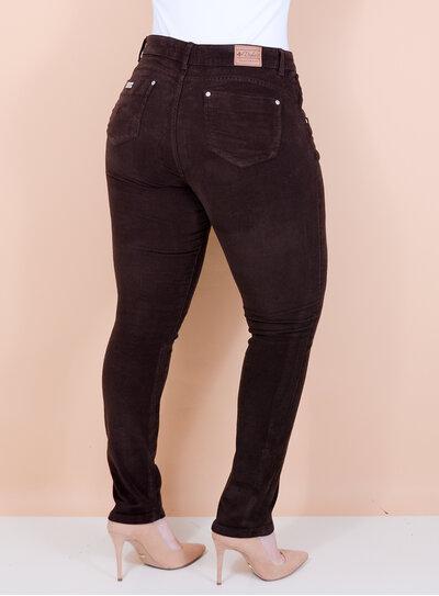 Calça Skinny em Veludo Cotelê Marrom