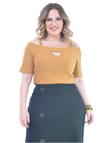 Blusa Plus Size Ombro a Ombro Canelada Caramelo