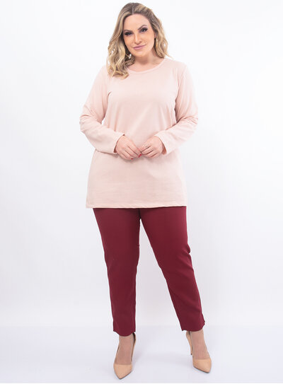 Blusa Plus Size Longa Moletinho