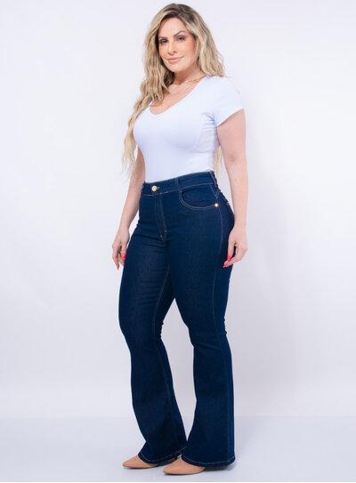 Calça Flare Plus Size Jeans Denim