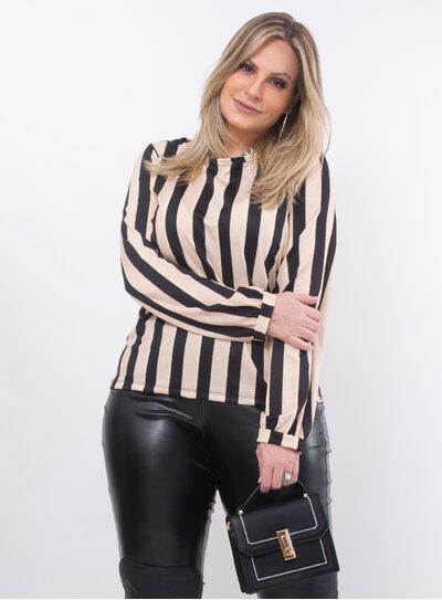 Blusa Plus Size Listrada