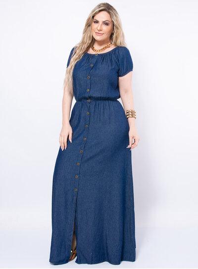 Vestido Longo Plus Size Jeans Acinturado