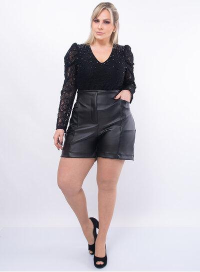 Short Plus Size Cintura Alta em PU