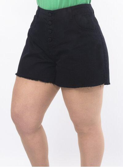 Short Plus Size Cintura Alta com Botões