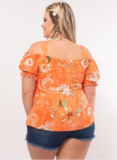Blusa Plus Size Estampa Floral