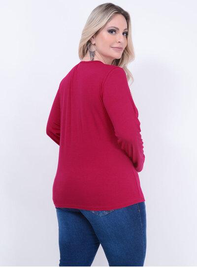 Blusa Malha Tule Recorte Plus Size