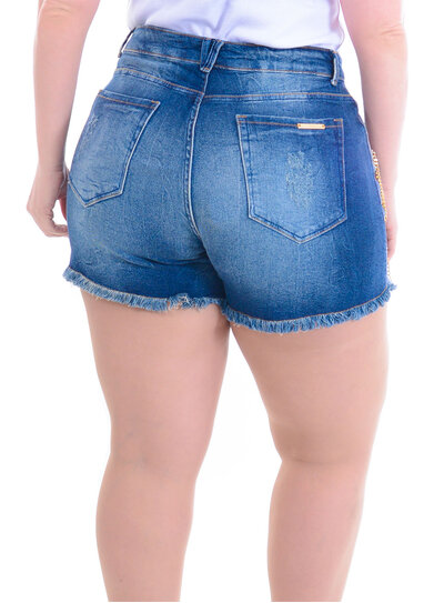 Shorts Jeans Plus Size Dourado