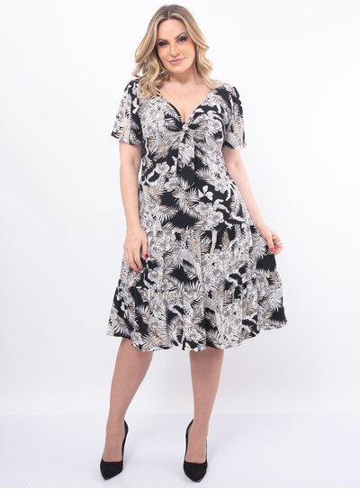Vestido Plus Size Floral com Laço