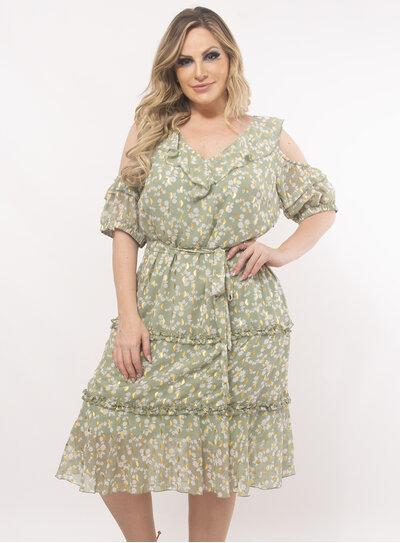 Vestido Plus Size Estampado com Babados