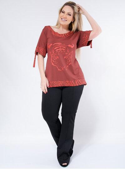 T-Shirt Plus Size Longa Animal Print