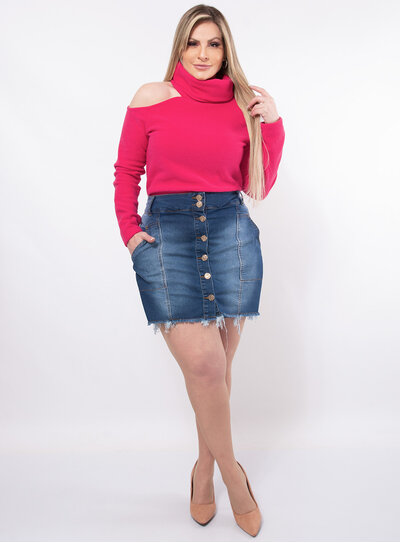 Blusa Plus Size Plush Ombro Vazado