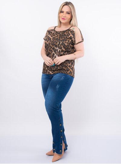 Blusa Plus Size Animal Print Tule