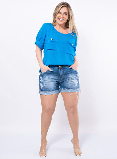 Blusa Plus Size Lisa com Bolsos