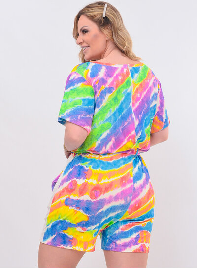 Macaquinho Plus Size Tie Dye