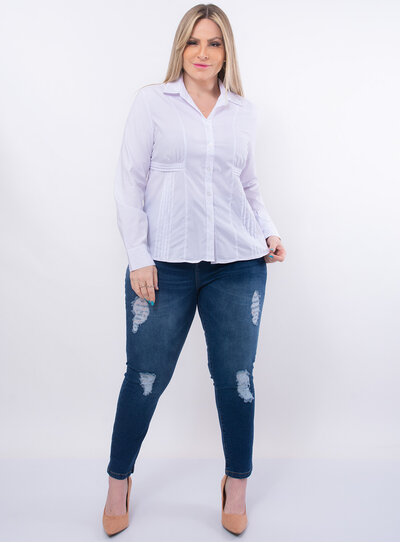 Camisa Plus Size com Recortes