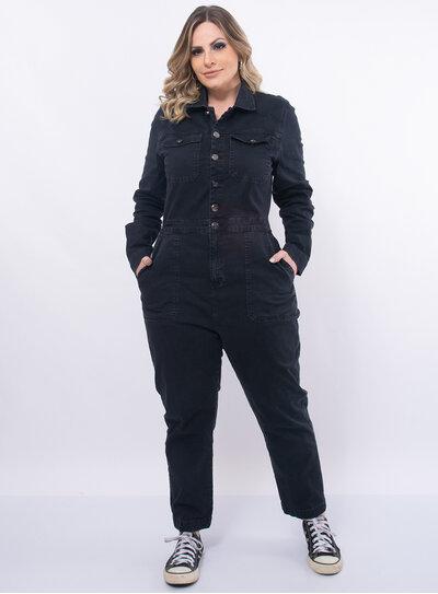 Macacão Jeans Plus Size Longo