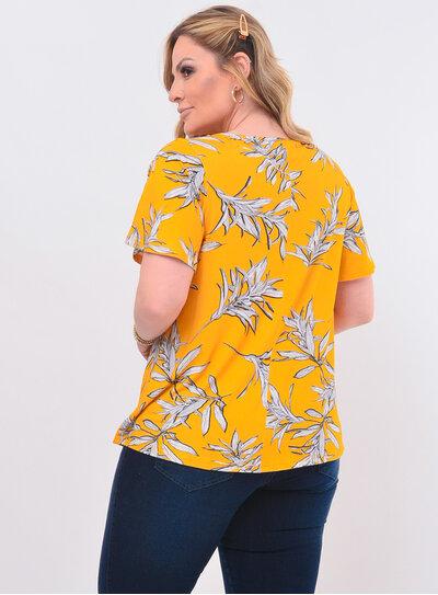 Blusa Plus Size Floral Amarela