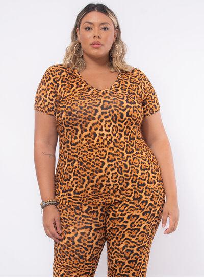 T-Shirt Plus Size Animal Print