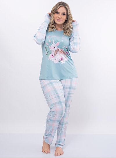 Pijama Plus Size Calça Xadrez