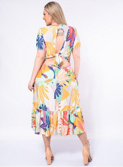 Vestido Plus Size Decote nas Costas