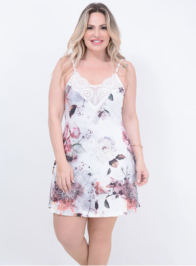 Camisola Renda Floral Branca Plus Size