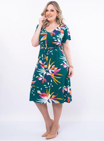 Vestido Plus Size Botões e Cinto Faixa