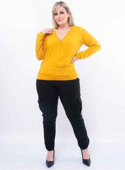 Blusa Plus Size Decote Transpassado