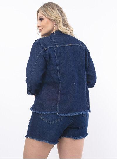 Jaqueta Plus Size Jeans Destroyed