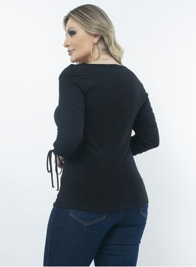 Blusa Plus Size Franzido com Laço