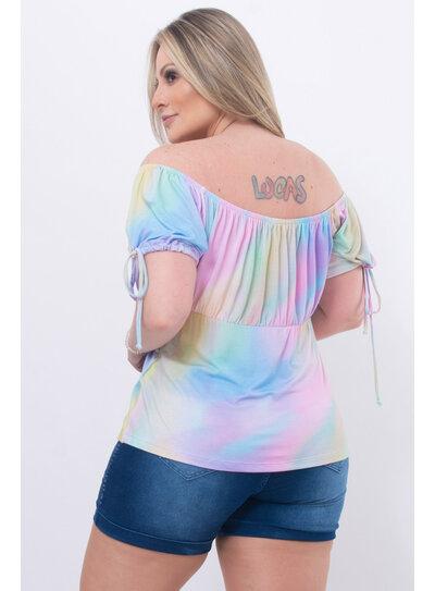 Blusa Plus Size Ombro a Ombro Tie Dye