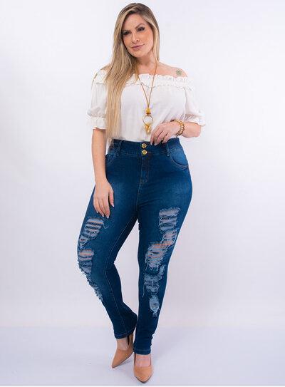 Calça Skinny Plus Size Jeans Destroyed