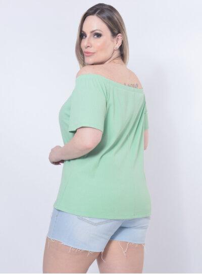 Blusa Plus Size Botões Verde