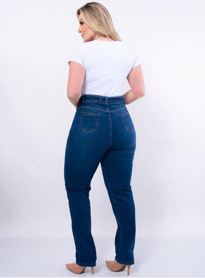 Calça Plus Size Mom Jeans com Cinto