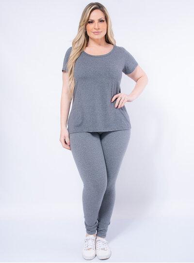 Legging Plus Size em Algodão com Elastano