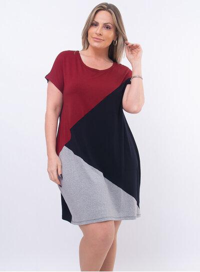 Vestido Midi Plus Size Tricolor