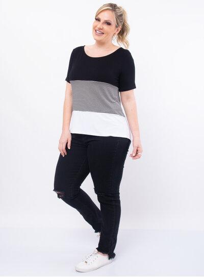 Blusa Plus Size Listrada Barra Mullet